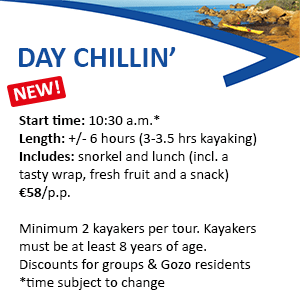 This image displays info about Kayak Gozo Day Chillin Tours