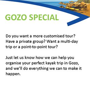 This image displays info about Kayak Gozo Customised Tours