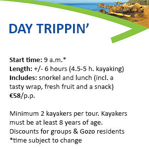 This images displays info about Kayak Gozo Day Trippin Tours